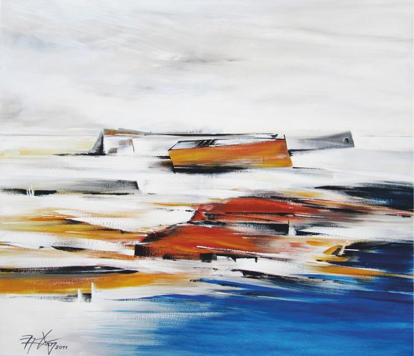 Morgens am Meer - Pigmente, Leinwand - 2011 - 120 x 140 cm