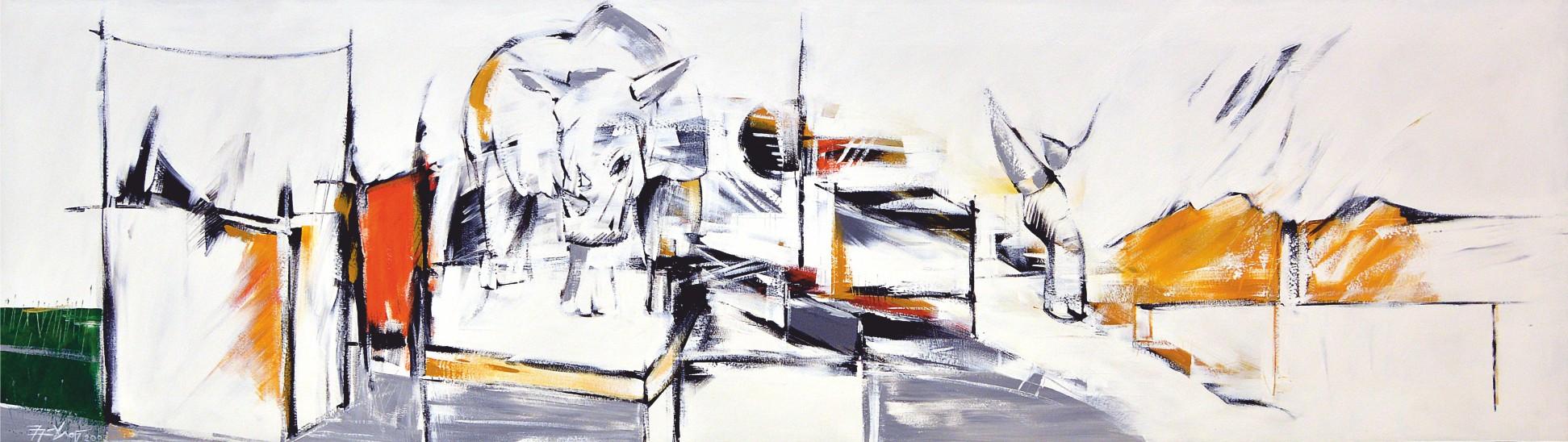 Nashorn - Pigmente, Leinwand - 2003 - 100 x 350 cm